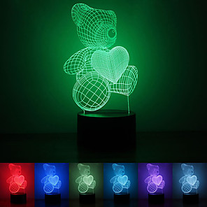 cheap 3D Night Lights-1Pc Usb Power Abstract Art 3D Lights Colorful Touch Gradient Vision Night Lights Colorful 3D Acrylic Table Lamp&Love bear