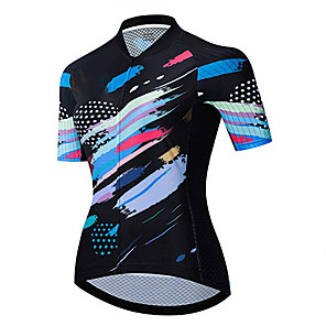 cheap Cycling Jerseys-21Grams Women's Short Sleeve Cycling Jersey Black / Blue Stripes Bike Jersey Top Mountain Bike MTB Road Bike Cycling UV Resistant Breathable Quick Dry Sports Clothing Apparel / Stretchy / Race Fit