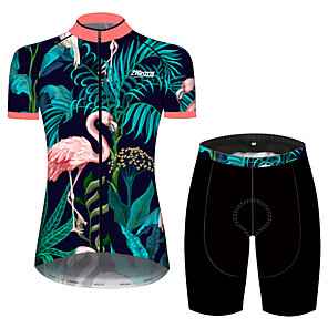 cheap Vapor Accessories-21Grams Women's Short Sleeve Cycling Jersey with Shorts Spandex Polyester Pink+Green Flamingo Leaf Animal Bike Clothing Suit Breathable 3D Pad Quick Dry Ultraviolet Resistant Sweat-wicking Sports