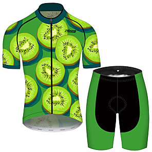 cheap Cycling Jersey & Shorts / Pants Sets-21Grams Men's Short Sleeve Cycling Jersey with Shorts Black / Green Fruit Bike Clothing Suit UV Resistant Breathable 3D Pad Quick Dry Sweat-wicking Sports Solid Color Mountain Bike MTB Road Bike