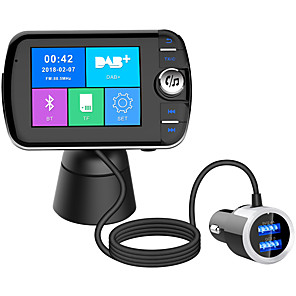cheap Bluetooth Car Kit/Hands-free-DAB004 Bluetooth FM Transmitter for Car Digital Radio Receiver FM Tuner Radio Car Bluetooth 4.2 LCD Display Transmitter Adapter FM DAV/DAB Tuner Broadcasting