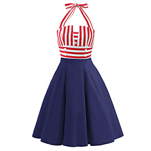 cheap Historical & Vintage Costumes-Audrey Hepburn Country Girl Retro Vintage 1950s Wasp-Waisted Rockabilly Summer Dress JSK / Jumper Skirt Women's Cotton Costume Red Vintage Cosplay Party Daily Sleeveless Knee Length