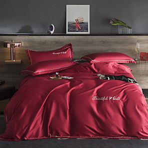 cheap Quilts & Coverlets-Duvet Cover Sets 4 Piece Linen / Cotton Solid Colored Red Printed Simple