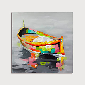cheap Abstract Paintings-Hand Painted Canvas Oilpainting Abstract Boat by Knife Home Decoration with Frame Painting Ready to Hang