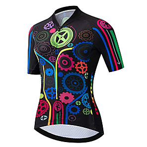 cheap Cycling Jerseys-21Grams Women's Short Sleeve Cycling Jersey Spandex Polyester Black / Red Gear Bike Jersey Top Mountain Bike MTB Road Bike Cycling UV Resistant Breathable Quick Dry Sports Clothing Apparel / Stretchy