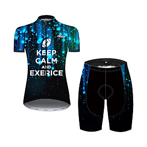 cheap Synthetic Trendy Wigs-21Grams Women's Short Sleeve Cycling Jersey with Shorts Spandex Polyester Black / Red Polka Dot Galaxy Bike Clothing Suit Breathable 3D Pad Quick Dry Ultraviolet Resistant Sweat-wicking Sports Polka