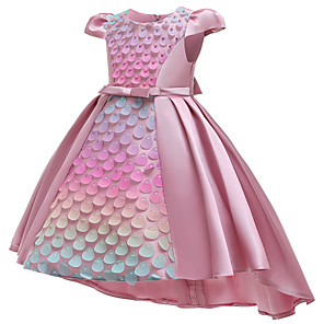 cheap Movie & TV Theme Costumes-The Little Mermaid Princess Dress Flower Girl Dress Girls' Movie Cosplay A-Line Slip Dusty Rose / Pink / Green Dress Children's Day Masquerade Cotton Polyster