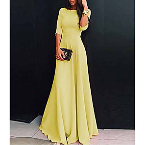 cheap Maxi Dresses-Women's Maxi Sheath Dress - Half Sleeve Solid Colored V Neck Elegant Slim White Black Purple Red Yellow Blushing Pink Green Navy Blue Light Blue S M L XL XXL