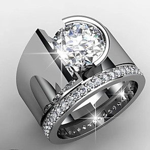 cheap Rings-Men's Women's Ring AAA Cubic Zirconia 1pc Silver Platinum Plated Alloy Stylish Wedding Gift Jewelry Cute / Daily / Engagement