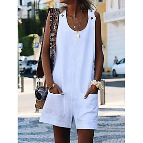 cheap Women's Sandals-Women's Basic Casual Beach U Neck White Black Yellow Jumpsuit Solid Colored Pocket Button / Wide Leg