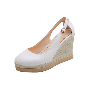 cheap Women's Boots-Women's Sandals Wedge Sandals Fall / Spring & Summer Wedge Heel Round Toe Classic Minimalism Daily Solid Colored PU White / Black / Pink