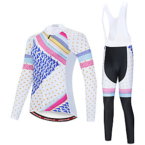 cheap Cycling Jersey & Shorts / Pants Sets-EVERVOLVE Men's Long Sleeve Cycling Jersey with Bib Tights Polyester Blue / White Black / White Polka Dot Plaid / Checkered Geometic Bike Clothing Suit Thermal / Warm Breathable 3D Pad Quick Dry
