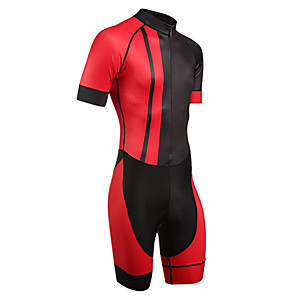cheap Cycling Jersey & Shorts / Pants Sets-21Grams Men's Short Sleeve Triathlon Tri Suit Black / Red Patchwork Geometic Bike Clothing Suit UV Resistant Breathable 3D Pad Quick Dry Sweat-wicking Sports Solid Color Mountain Bike MTB Road Bike
