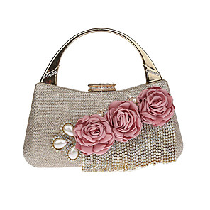 cheap Party Sashes-Women's Bags Polyester / Alloy Evening Bag Tassel Flower for Wedding / Party / Event / Party Black / Blue / Red / Champagne / Gold / Wedding Bags