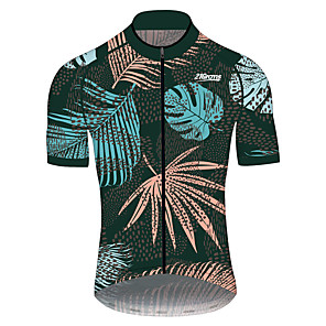 cheap Cycling Jerseys-21Grams Men's Short Sleeve Cycling Jersey Green / Yellow Polka Dot Leaf Floral Botanical Bike Jersey Top Mountain Bike MTB Road Bike Cycling UV Resistant Breathable Quick Dry Sports Clothing Apparel
