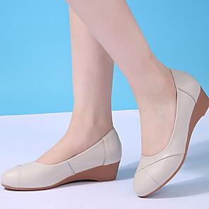 cheap Women's Boots-Women's Loafers & Slip-Ons Wedge Heel Round Toe Cowhide Spring Black / Beige / Gray