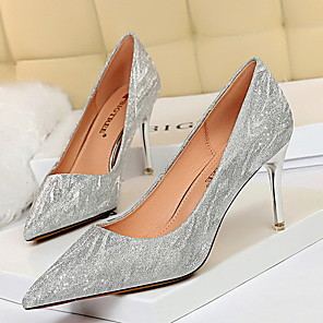 cheap Wedding Shoes-Women's Wedding Shoes Stiletto Heel Pointed Toe PU Spring & Summer Champagne / Silver