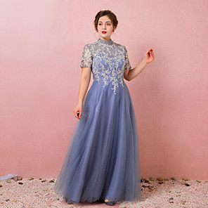 cheap Wedding Veils-A-Line Chinese Style Blue Prom Formal Evening Dress High Neck Short Sleeve Floor Length Lace Satin Tulle with Pleats Appliques 2020