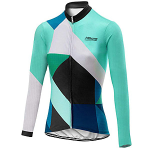 cheap Cycling Jerseys-21Grams Women's Long Sleeve Cycling Jersey Black / Green Plaid / Checkered Bike Jersey Top Mountain Bike MTB Road Bike Cycling UV Resistant Breathable Quick Dry Sports Clothing Apparel / Stretchy