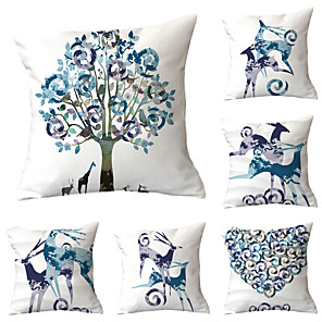 cheap Throw Pillow Covers-Set of 6 Polyester Pillow Cover, Animal Graphic Prints Simple Leisure Square Traditional Classic Throw Pillow