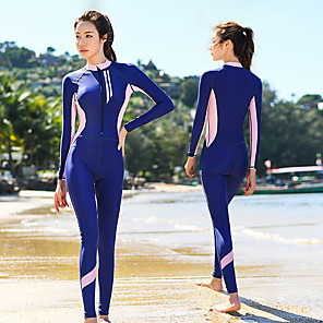 cheap Wetsuits, Diving Suits & Rash Guard Shirts-Women's Rash Guard Dive Skin Suit Elastane Swimwear Bodysuit Thermal / Warm UV Sun Protection Breathable Long Sleeve Front Zip - Swimming Diving Water Sports Patchwork Autumn / Fall Spring Summer