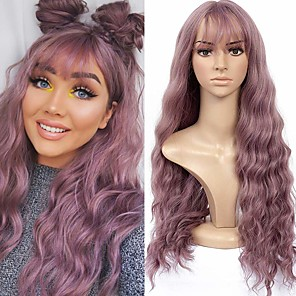 cheap Synthetic Lace Wigs-Synthetic Wig Wavy Loose Curl With Bangs Wig Long Purple Synthetic Hair 26 inch Women's Adorable New Arrival Romantic Purple