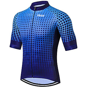 cheap Cycling Jerseys-21Grams Men's Short Sleeve Cycling Jersey Polyester Spandex Blue Dot Bike Jersey Top Mountain Bike MTB Road Bike Cycling UV Resistant Breathable Quick Dry Sports Clothing Apparel / Stretchy