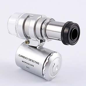cheap Testers & Detectors-Mini 60X Jewelry Magnifier Microscope Magnifying With 2 LEDs And UV Light Pocket Jeweler Loupe Zoom Tool