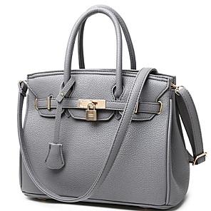 cheap Handbag & Totes-Women's Zipper PU Top Handle Bag Solid Color Red / Black / Gray