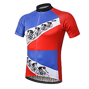 cheap Cycling Jerseys-21Grams Men's Short Sleeve Cycling Jersey Red+Blue Patchwork Geometic Bike Jersey Top Mountain Bike MTB Road Bike Cycling UV Resistant Breathable Quick Dry Sports Clothing Apparel / Stretchy