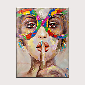cheap Abstract Paintings-Women Face Palette Portrait Hand Painted Pop Art Wall Art Canvas Oil Painting Decorativos For Home Hotels Galley