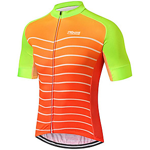 cheap Cycling Jerseys-21Grams Men's Short Sleeve Cycling Jersey Orange Stripes Patchwork Bike Jersey Top Mountain Bike MTB Road Bike Cycling UV Resistant Breathable Quick Dry Sports Clothing Apparel / Stretchy / Race Fit