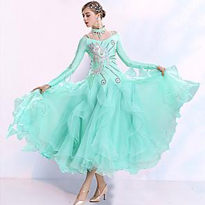 cheap Ballroom Dancewear-Ballroom Dance Dress Embroidery Split Joint Crystals / Rhinestones Women's Training Performance Long Sleeve Spandex Organza