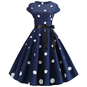 cheap Historical & Vintage Costumes-Women's A-Line Dress Midi Dress - Short Sleeve Polka Dot Pleated Vintage Black Blue Red Navy Blue S M L XL XXL