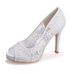 cheap Wedding Shoes-Women's Wedding Shoes Stiletto Heel Peep Toe Lace Minimalism Spring & Summer Black / White / Ivory / Party & Evening