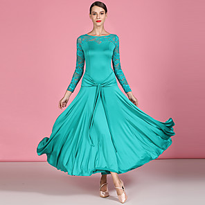cheap Ballroom Dancewear-Ballroom Dance Dress Lace Sashes / Ribbons Women's Performance Long Sleeve High Tulle Milk Fiber