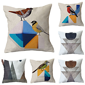 cheap Sale-6 pcs Polyester Pillow Cover, Flamingo Geometric Pattern Simple Baroque Square Traditional Classic