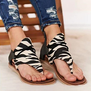 cheap Women's Sandals-Women's Sandals Flat Sandals Spring & Summer Flat Heel Open Toe Classic Daily Leopard Snake Suede Black / White / Light Brown / Leopard / Animal Print