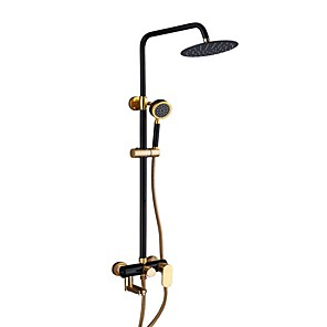 cheap Bathroom Sink Faucets-Shower System Set - Handshower Included Rainfall Contemporary Electroplated Wall Installation Ceramic Valve Bath Shower Mixer Taps
