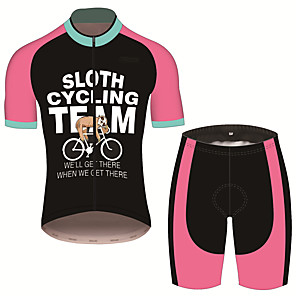 cheap Cycling Jersey & Shorts / Pants Sets-21Grams Men's Short Sleeve Cycling Jersey with Shorts Pink / Black Animal Sloth Bike Clothing Suit UV Resistant Breathable 3D Pad Quick Dry Sweat-wicking Sports Patterned Mountain Bike MTB Road Bike