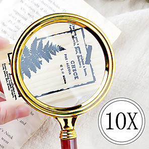 cheap Magnifying Glasses-Portable Handheld 10X Magnifying Glass 90mm Retro Handle Magnifier Eye Loupe Glass