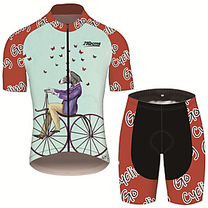 cheap Triathlon Clothing-21Grams Men's Short Sleeve Cycling Jersey with Shorts Black / Red Butterfly Animal Zebra Bike Clothing Suit UV Resistant Breathable 3D Pad Quick Dry Sweat-wicking Sports Butterfly Mountain Bike MTB
