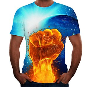 cheap CCTV Cameras-Men's Plus Size Color Block Flame Print T-shirt Basic Street chic Daily Going out Round Neck Rainbow / Short Sleeve