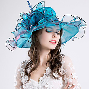 cheap Party Hats-Vintage Style Fashion Tulle / Organza Hats / Headwear with Bowknot / Flower / Trim 1 Piece Wedding / Outdoor Headpiece