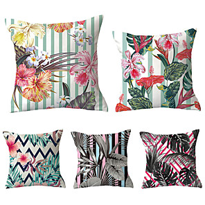 cheap Pillow Covers-5 pcs Polyester Pillow Cover, Lines / Waves Flower / Floral Vintage Pastoral Square Traditional Classic