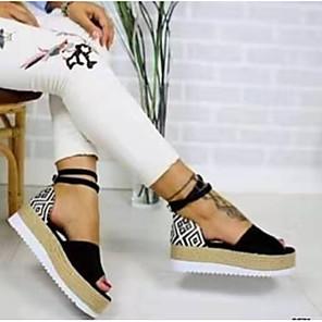 cheap Women's Sandals-Women's Sandals Wedge Sandals Comfort Shoes Summer Flat Heel Peep Toe Casual Comfort Daily Geometric PU Walking Shoes White / Black / Pink