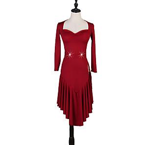 cheap Latin Dancewear-Latin Dance Dress Pleats Ruching Split Joint Women's Performance Long Sleeve Natural Milk Fiber