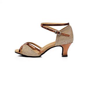 cheap Latin Shoes-Women's Latin Shoes Satin Heel Flat Heel Dance Shoes Gold / Fuchsia / Blue