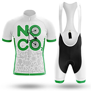 cheap Cycling Jersey & Shorts / Pants Sets-21Grams Men's Short Sleeve Cycling Jersey with Bib Shorts Spandex Polyester White Bike Clothing Suit UV Resistant Breathable 3D Pad Quick Dry Sweat-wicking Sports Solid Color Mountain Bike MTB Road