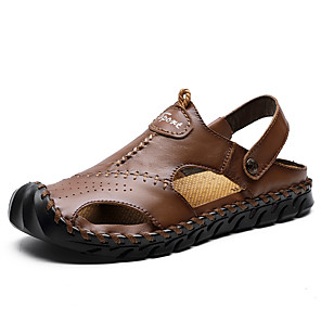 cheap Women's Boots-Men's Nappa Leather Summer / Spring & Summer Sporty Sandals Upstream Shoes Breathable Black / Brown / Khaki